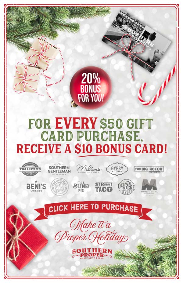 Get a holiday gift card from Southern Proper Hospitality